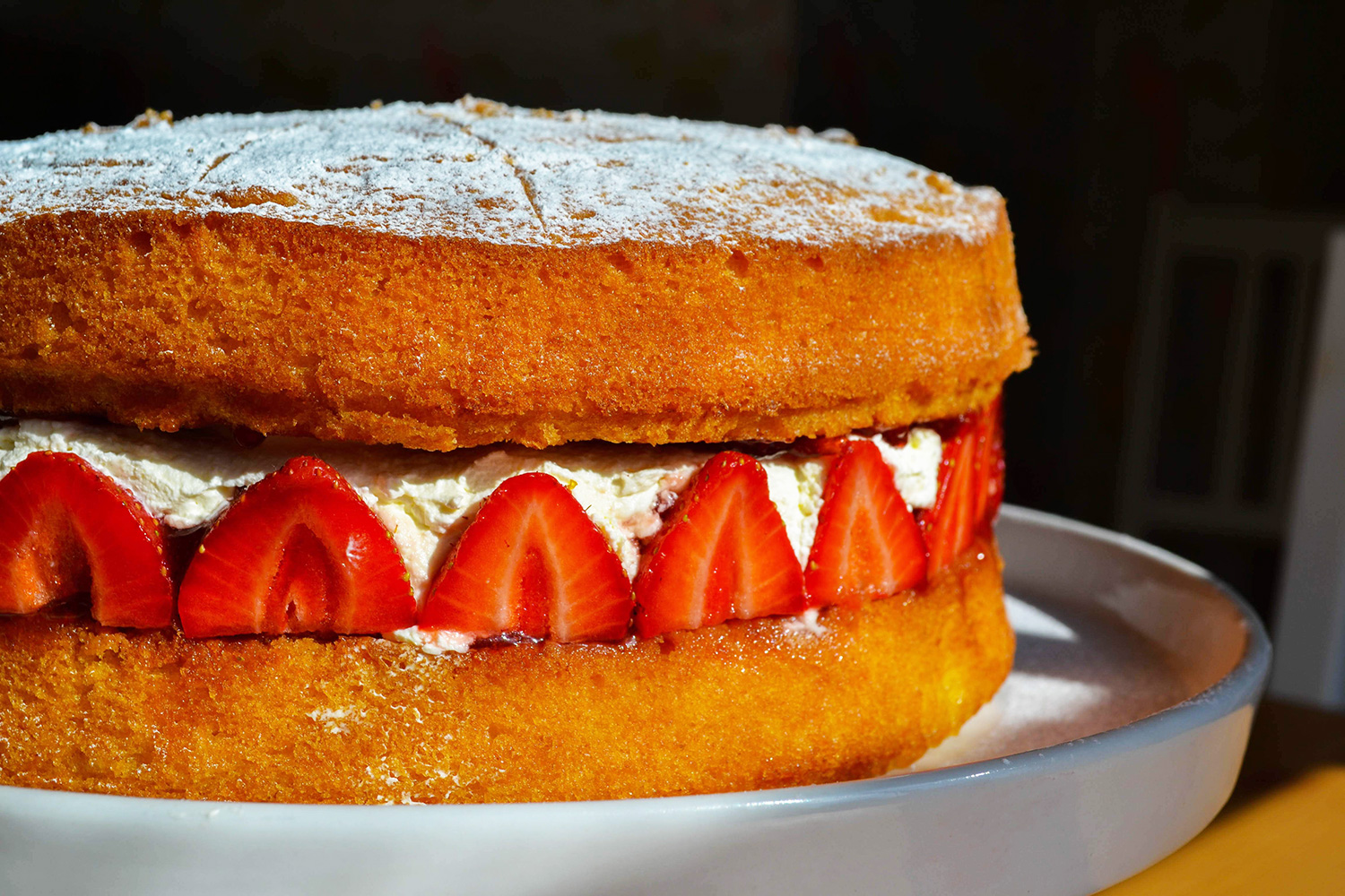 Traditional Victoria Sponge with strawberries.